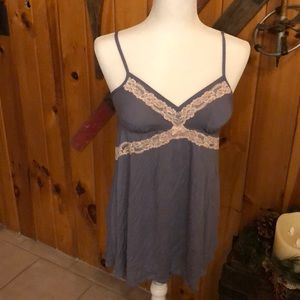 Grey blue night cami w/ lace free gift w/ purchase